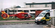 picture of a helicoptor on a hostpital landing- pad