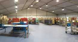 picture of a warehouse showing lighting installation